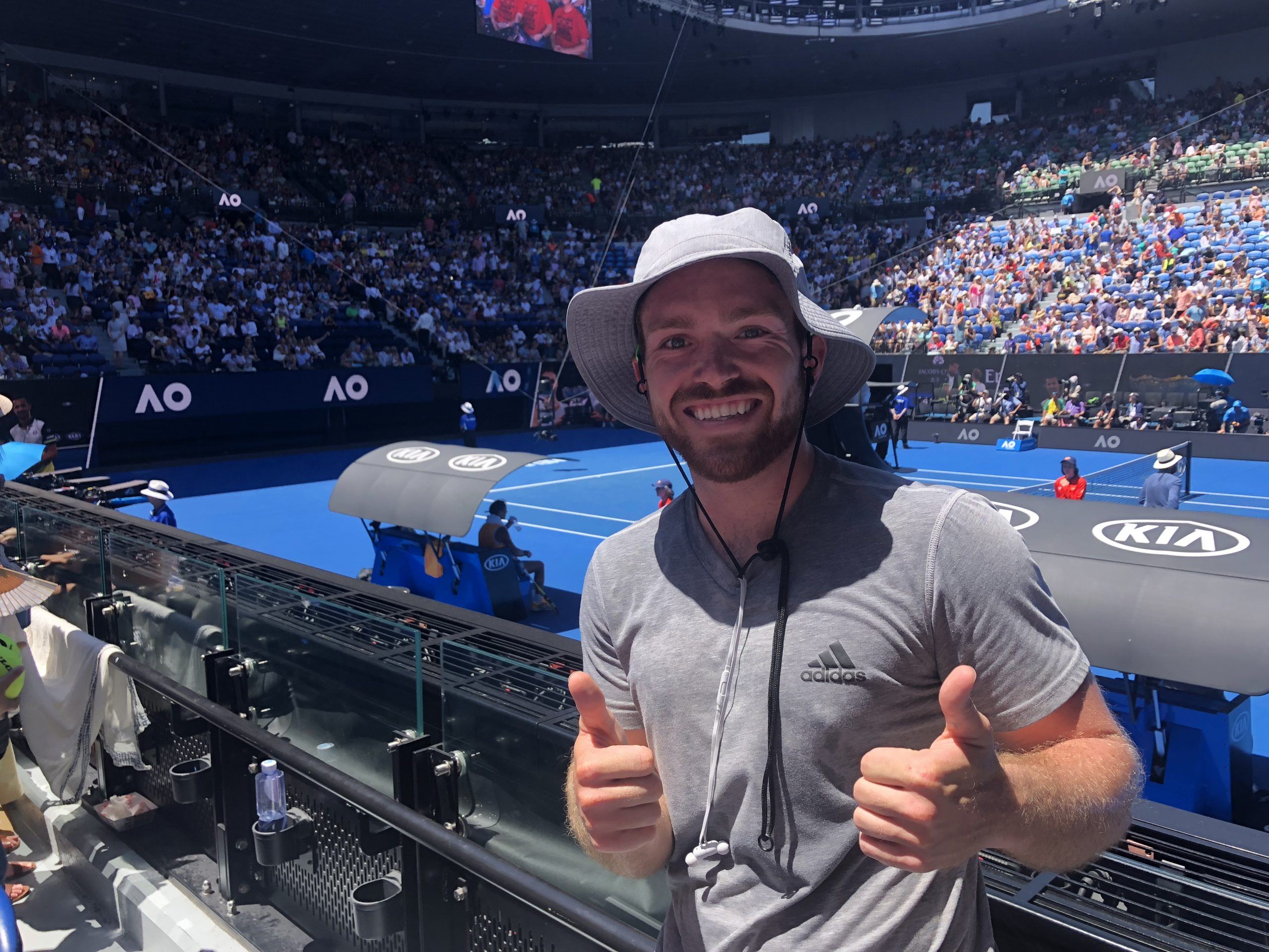 man at tennis tournament